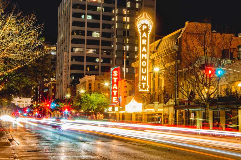 downtown austin texas night scene